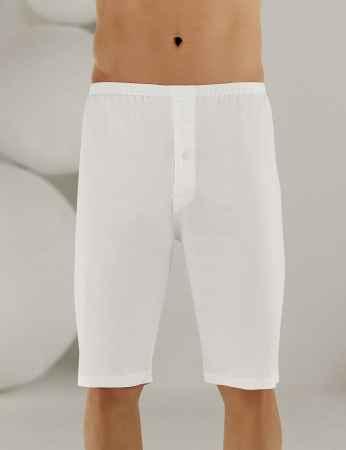 Sahinler Man Supreme Cotton Long Boxer White ME018 - Thumbnail