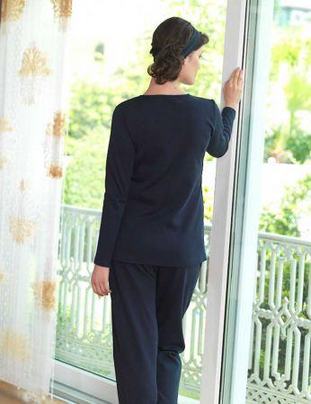 Şahinler - Sahinler Maternity Button Sleepwear Set Dark Blue MBP23118-1 (1)
