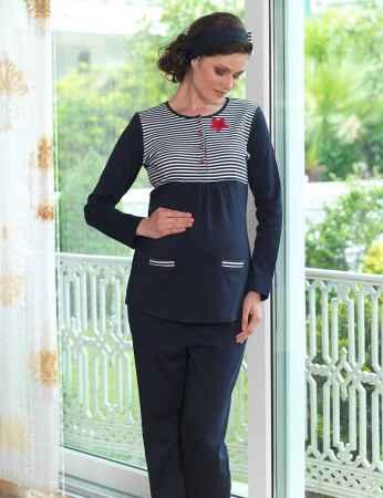 Sahinler Maternity Button Sleepwear Set Dark Blue MBP23118-1 - Thumbnail