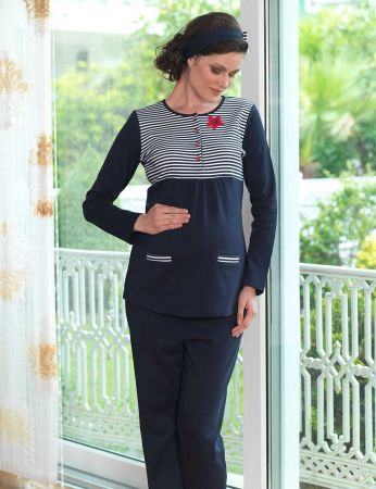Sahinler Maternity Button Sleepwear Set Dark Blue MBP23118-1