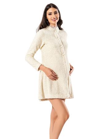 Şahinler - Şahinler Maternity Morning Gown Ecru MBP23735-1