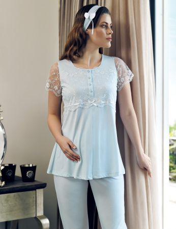 Şahinler - Şahinler Maternity Morning Gown Pajama Set Blue MBP24124-2 (1)