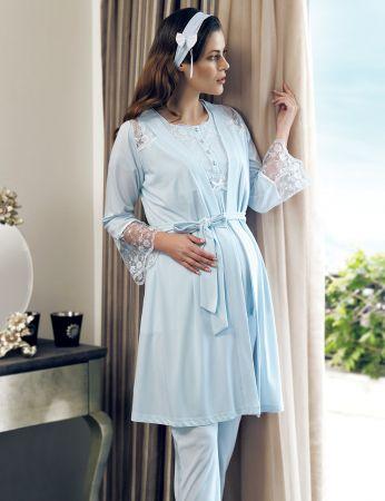 Şahinler - Şahinler Maternity Morning Gown Pajama Set Blue MBP24124-2