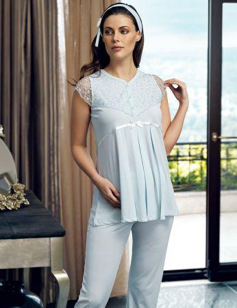 Şahinler - Şahinler Maternity Morning Gown Pajama Set Blue MBP24125-2 (1)