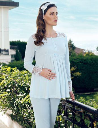 Şahinler - Şahinler Maternity Morning Gown Pajama Set Blue MBP24126-2 (1)