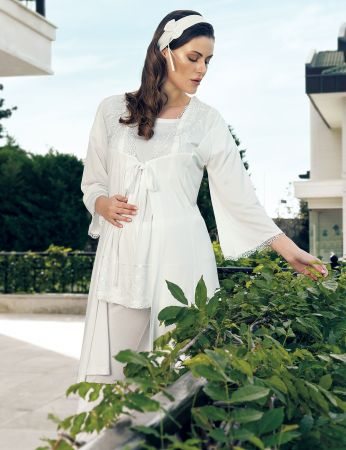 Şahinler - Şahinler Maternity Morning Gown Pajama Set MBP24127-1
