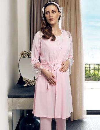 Şahinler - Şahinler Maternity Morning Gown Pajama Set Pink MBP24124-1