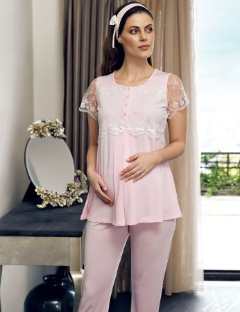 Şahinler - Şahinler Maternity Morning Gown Pajama Set Pink MBP24124-1 (1)