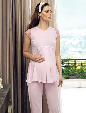 Şahinler - Şahinler Maternity Morning Gown Pajama Set Pink MBP24125-1 (1)