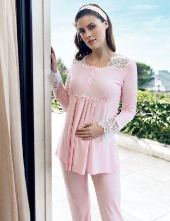 Şahinler - Şahinler Maternity Morning Gown Pajama Set Pink MBP24126-1 (1)