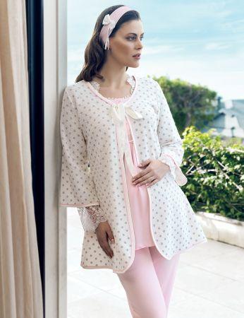 Şahinler - Şahinler Maternity Morning Gown Pajama Set Pink MBP24126-1
