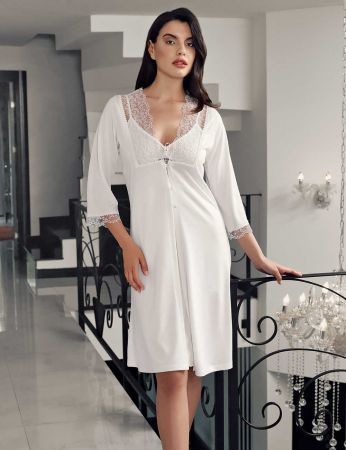 Şahinler - Şahinler Maternity Nightgown Morning Gown Set & Slipper Gfft Ecru MBP23736-1