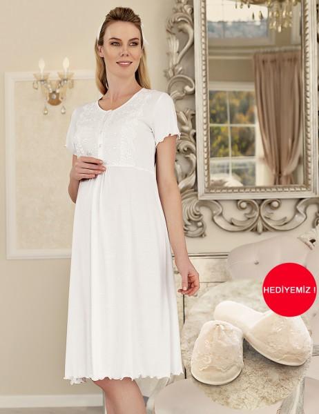 Şahinler - Şahinler Maternity Nightgown with Slipper Gift MBP23413-1