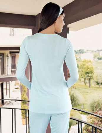 Şahinler - Şahinler Maternity Pajama Set & Slipper Gift Blue MBP23734-2 (1)