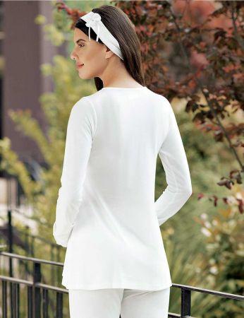 Şahinler - Şahinler Maternity Pajama Set & Slipper Gift Ecru MBP23728-1 (1)