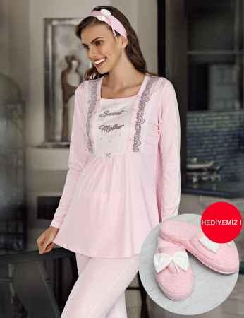 Şahinler - Şahinler Maternity Pajama Set & Slipper Gift Pink MBP23733-1