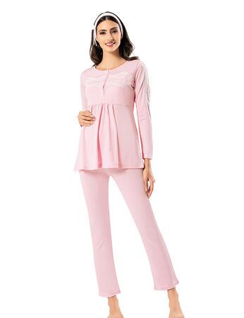 Şahinler - Şahinler Maternity Pajama Set & Slipper Gift Pink MBP23726-1