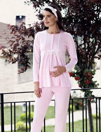 Şahinler - Şahinler Maternity Pajama Set & Slipper Gift Pink MBP23734-1