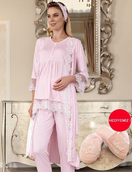 Şahinler - Şahinler Maternity Sleep Wear with Slipper Gift Pink MBP23410-1