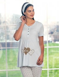 Şahinler Maternity Sleepwear Set with Slipper Gift Blue MBP23418-2 - Thumbnail