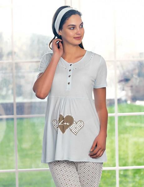 Şahinler Maternity Sleepwear Set with Slipper Gift Blue MBP23418-2