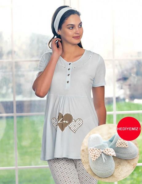 Şahinler - Şahinler Maternity Sleepwear Set with Slipper Gift Blue MBP23418-2