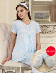 Şahinler - Şahinler Maternity Sleepwear Set with Slipper Gift Blue MBP23411-3