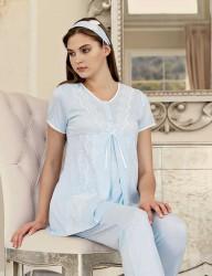 Şahinler Maternity Sleepwear Set with Slipper Gift Blue MBP23411-3 - Thumbnail