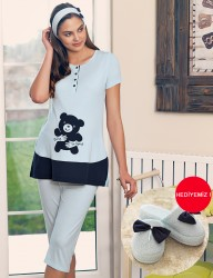 Şahinler - Şahinler Maternity Sleepwear Set with Slipper Gift Blue MBP23415-2