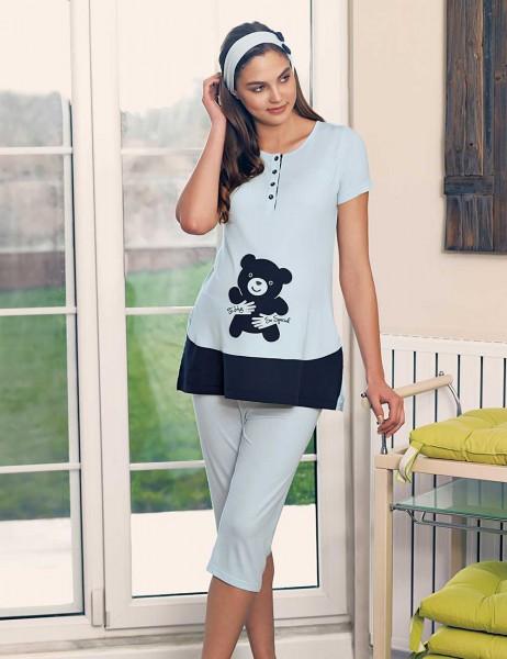 Şahinler Maternity Sleepwear Set with Slipper Gift Blue MBP23415-2