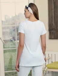Şahinler - Şahinler Maternity Sleepwear Set with Slipper Gift Blue MBP23415-2 (1)