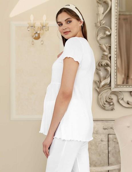 Şahinler Maternity Sleepwear Set with Slipper Gift Ecru MBP23409-1
