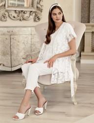 Şahinler Maternity Sleepwear Set with Slipper Gift Ecru MBP23409-1 - Thumbnail