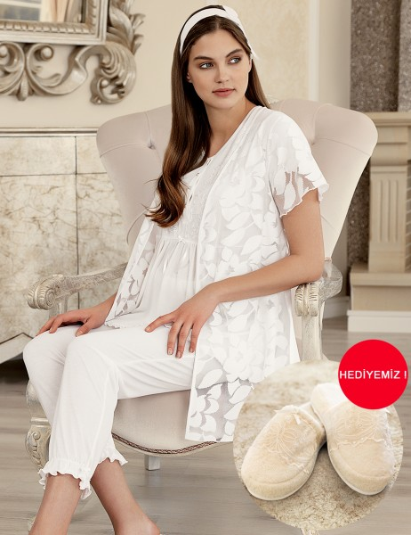 Şahinler - Şahinler Maternity Sleepwear Set with Slipper Gift Ecru MBP23409-1