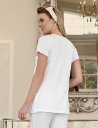 Şahinler - Şahinler Maternity Sleepwear Set with Slipper Gift Ecru MBP23411-2 (1)