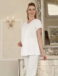 Şahinler Maternity Sleepwear Set with Slipper Gift Ecru MBP23411-2 - Thumbnail