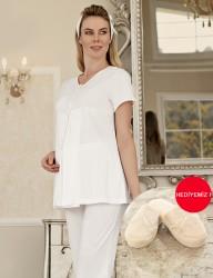 Şahinler - Şahinler Maternity Sleepwear Set with Slipper Gift Ecru MBP23411-2