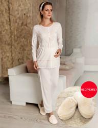 Şahinler - Sahinler Maternity Sleepwear Set with Slipper Gift Ecru MBP22442-1