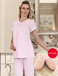 Şahinler Maternity Sleepwear Set with Slipper Gift Pink MBP23411-2 - Thumbnail