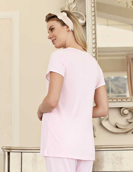 Şahinler Maternity Sleepwear Set with Slipper Gift Pink MBP23411-2