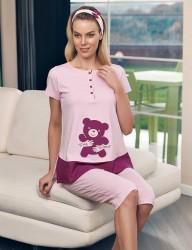 Şahinler Maternity Sleepwear Set with Slipper Gift Powder MBP23415-1 - Thumbnail