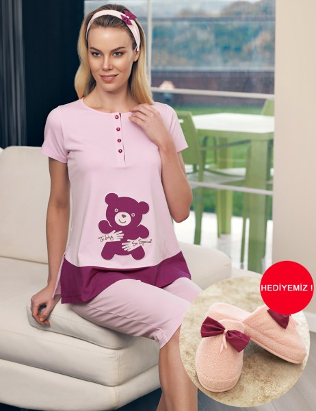 Şahinler - Şahinler Maternity Sleepwear Set with Slipper Gift Powder MBP23415-1