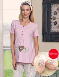 Şahinler Maternity Sleepwear Set with Slipper Gift Powder MBP23418-1 - Thumbnail