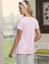 Şahinler - Şahinler Maternity Sleepwear Set with Slipper Gift Powder MBP23418-1 (1)