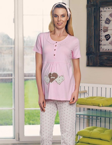 Şahinler Maternity Sleepwear Set with Slipper Gift Powder MBP23418-1