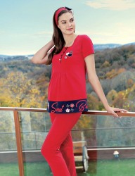 Şahinler Maternity Sleepwear Set with Slipper Gift Red MBP23416-1 - Thumbnail