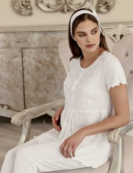 Şahinler Maternity Sleepwear with Slipper Gift Ecru MBP23412-1 - Thumbnail
