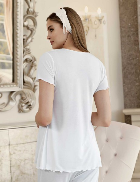 Şahinler - Şahinler Maternity Sleepwear with Slipper Gift Ecru MBP23412-1 (1)