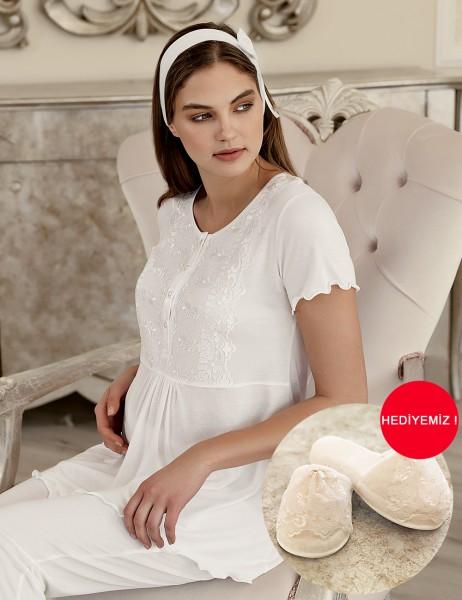 Şahinler - Şahinler Maternity Sleepwear with Slipper Gift Ecru MBP23412-1