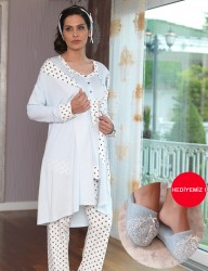 Şahinler - Sahinler Maternity Spotted Sleepwear Set with Slipper Gift Ice Blue MBP23117-1